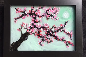 Cherry Blossom Painting on Glass