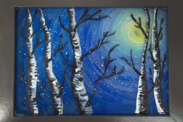 Birch Trees In Winter Painting on Glass